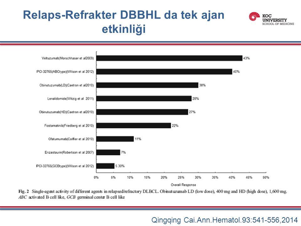 Relaps-Refrakter DBBHL da tek ajan etkinliği Qingqing Cai.Ann.Hematol.93:541-556,2014