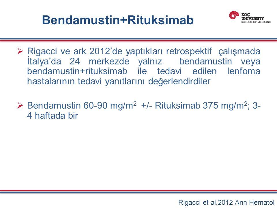  Rigacci ve ark 2012'de yaptıkları retrospektif çalışmada İtalya'da 24 merkezde yalnız bendamustin veya bendamustin+rituksimab ile tedavi edilen lenfoma hastalarının tedavi yanıtlarını değerlendirdiler  Bendamustin 60-90 mg/m 2 +/- Rituksimab 375 mg/m 2 ; 3- 4 haftada bir Rigacci et al.2012 Ann Hematol