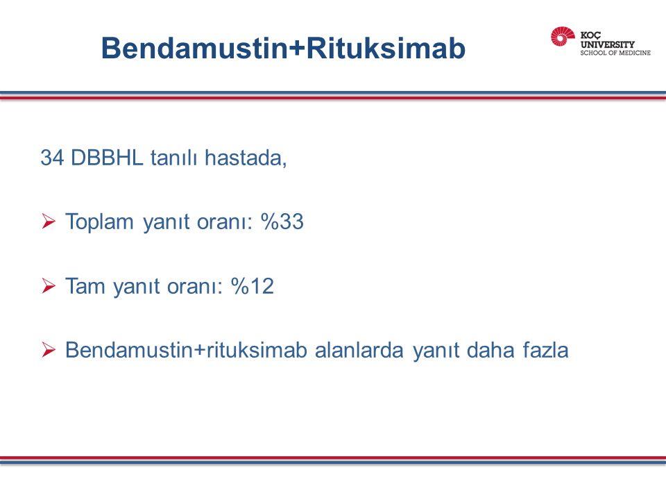 Bendamustin+Rituksimab 34 DBBHL tanılı hastada,  Toplam yanıt oranı: %33  Tam yanıt oranı: %12  Bendamustin+rituksimab alanlarda yanıt daha fazla
