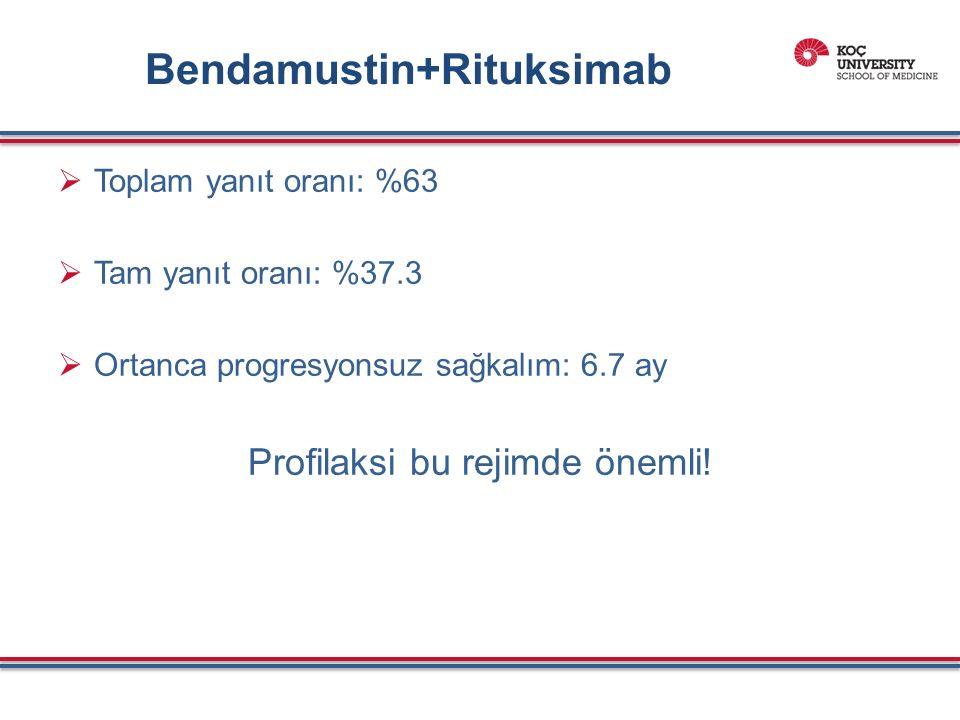 Bendamustin+Rituksimab  Toplam yanıt oranı: %63  Tam yanıt oranı: %37.3  Ortanca progresyonsuz sağkalım: 6.7 ay Profilaksi bu rejimde önemli!