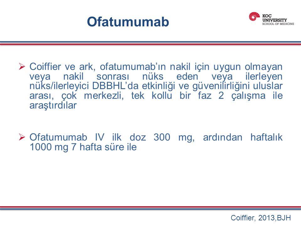  Coiffier ve ark, ofatumumab'ın nakil için uygun olmayan veya nakil sonrası nüks eden veya ilerleyen nüks/ilerleyici DBBHL'da etkinliği ve güvenilirliğini uluslar arası, çok merkezli, tek kollu bir faz 2 çalışma ile araştırdılar  Ofatumumab IV ilk doz 300 mg, ardından haftalık 1000 mg 7 hafta süre ile Coiffier, 2013,BJH