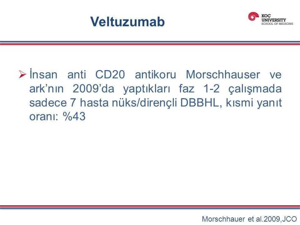 Veltuzumab  İnsan anti CD20 antikoru Morschhauser ve ark'nın 2009'da yaptıkları faz 1-2 çalışmada sadece 7 hasta nüks/dirençli DBBHL, kısmi yanıt oranı: %43 Morschhauer et al.2009,JCO