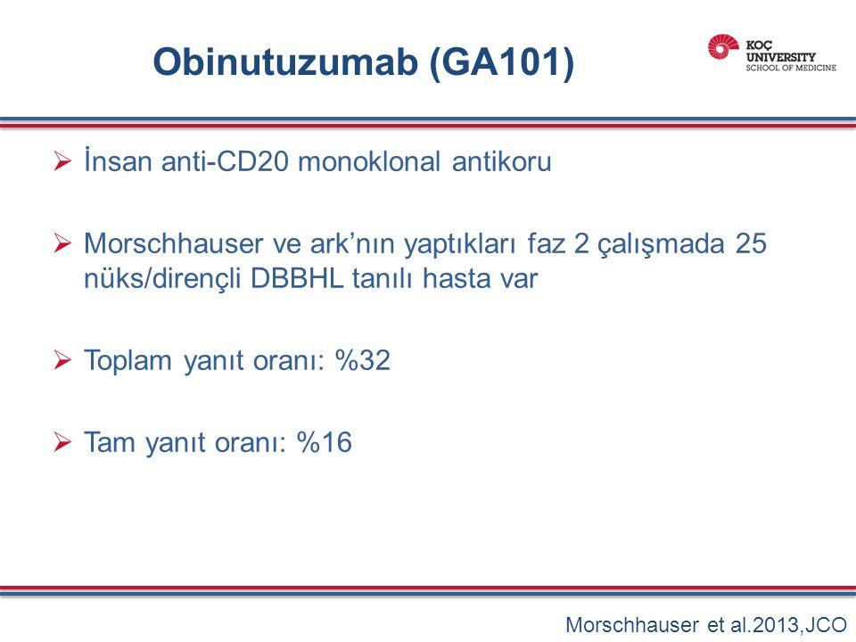 Obinutuzumab (GA101)  İnsan anti-CD20 monoklonal antikoru  Morschhauser ve ark'nın yaptıkları faz 2 çalışmada 25 nüks/dirençli DBBHL tanılı hasta var  Toplam yanıt oranı: %32  Tam yanıt oranı: %16 Morschhauser et al.2013,JCO