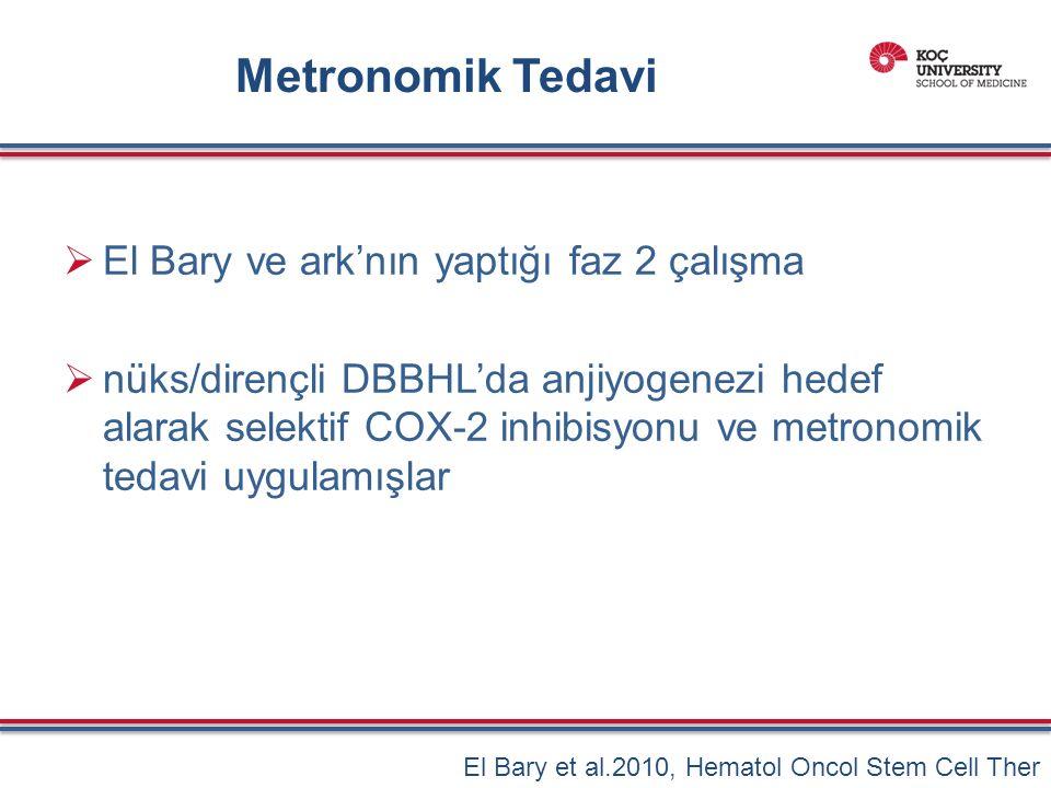 Metronomik Tedavi  El Bary ve ark'nın yaptığı faz 2 çalışma  nüks/dirençli DBBHL'da anjiyogenezi hedef alarak selektif COX-2 inhibisyonu ve metronomik tedavi uygulamışlar El Bary et al.2010, Hematol Oncol Stem Cell Ther
