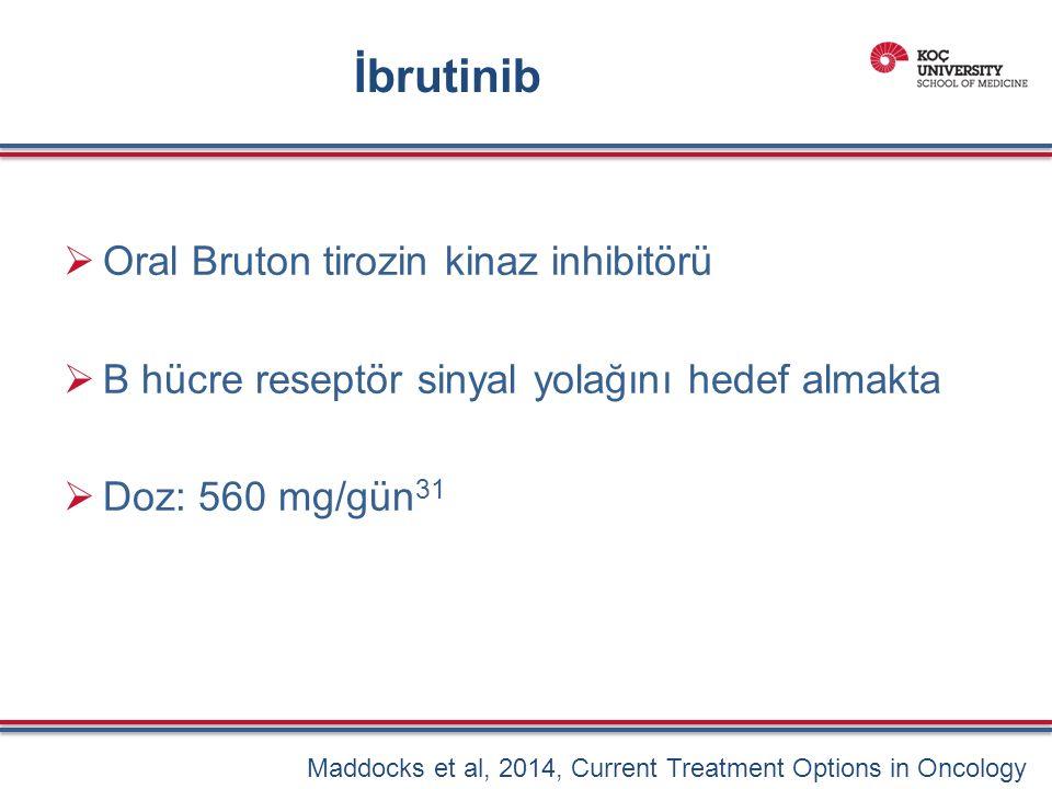 İbrutinib  Oral Bruton tirozin kinaz inhibitörü  B hücre reseptör sinyal yolağını hedef almakta  Doz: 560 mg/gün 31 Maddocks et al, 2014, Current Treatment Options in Oncology