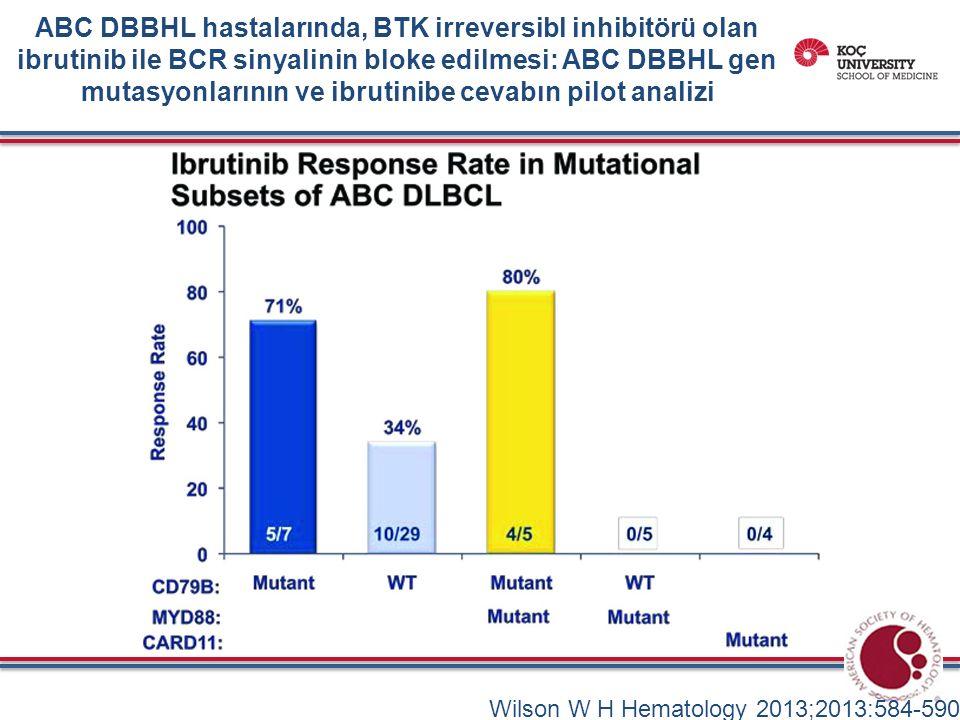 Wilson W H Hematology 2013;2013:584-590 ABC DBBHL hastalarında, BTK irreversibl inhibitörü olan ibrutinib ile BCR sinyalinin bloke edilmesi: ABC DBBHL gen mutasyonlarının ve ibrutinibe cevabın pilot analizi
