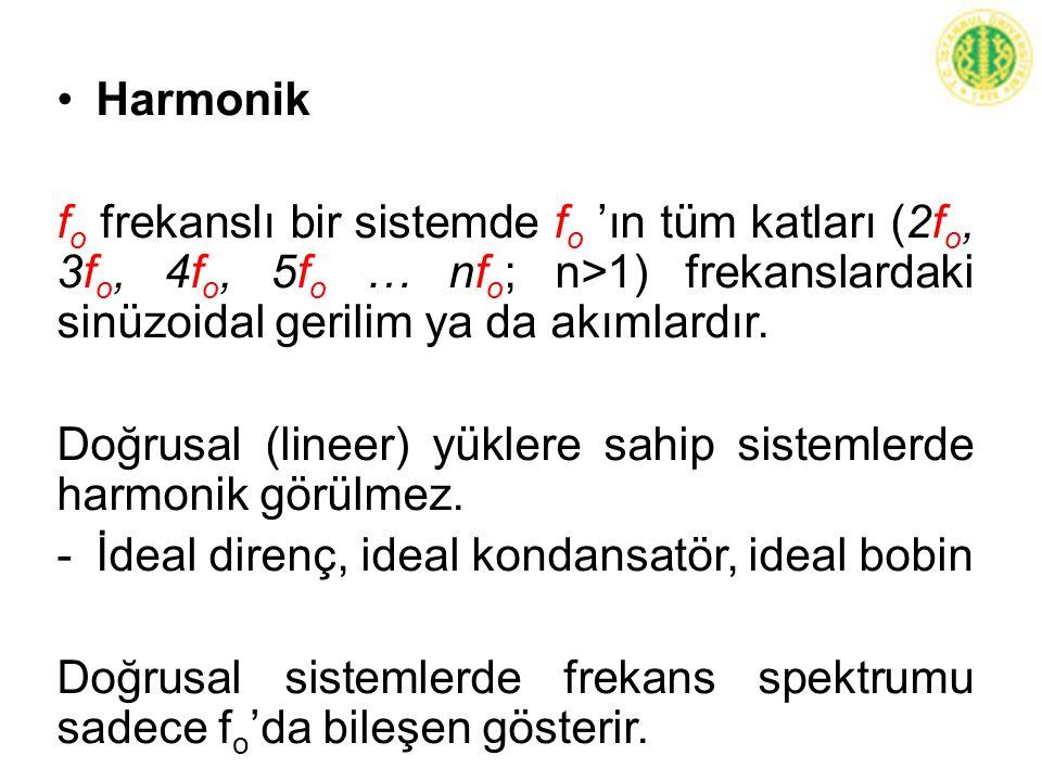Harmonik f o frekanslı bir sistemde f o 'ın tüm katları (2f o, 3f o, 4f o, 5f o … nf o ; n>1) frekanslardaki sinüzoidal gerilim ya da akımlardır. Doğr