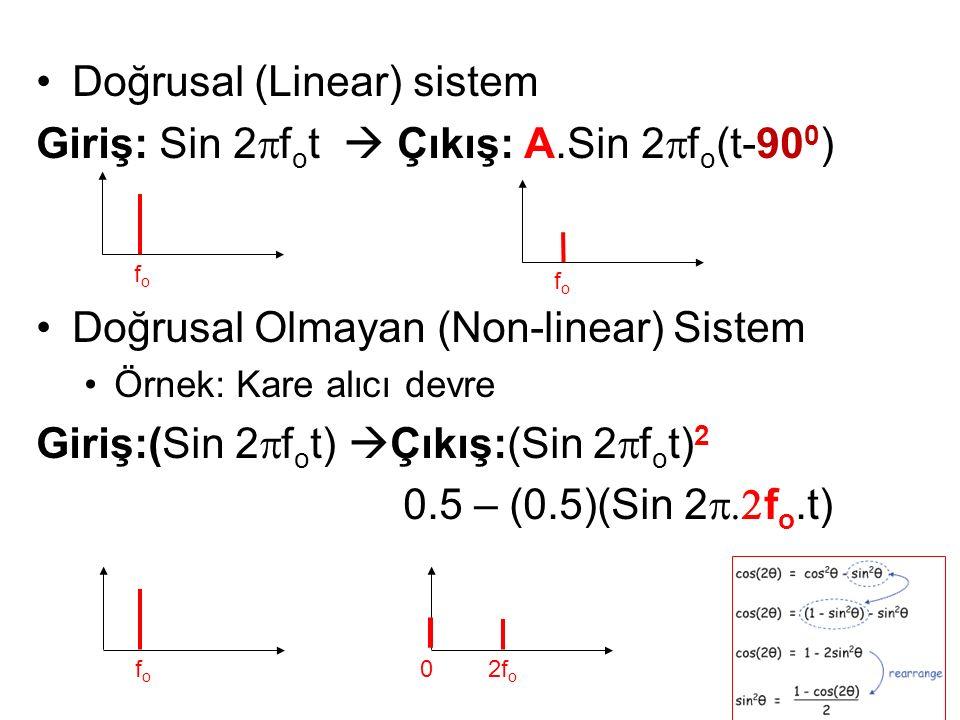 Doğrusal (Linear) sistem Giriş: Sin 2  f o t  Çıkış: A.Sin 2  f o (t-90 0 ) Doğrusal Olmayan (Non-linear) Sistem Örnek: Kare alıcı devre Giriş:(Sin 2  f o t)  Çıkış:(Sin 2  f o t) 2 0.5 – (0.5)(Sin 2  f o.t) fofo fofo fofo 2f o 0