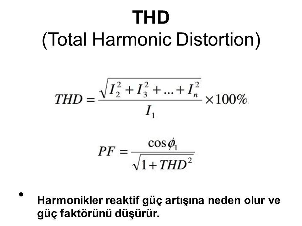 THD (Total Harmonic Distortion) Harmonikler reaktif güç artışına neden olur ve güç faktörünü düşürür.