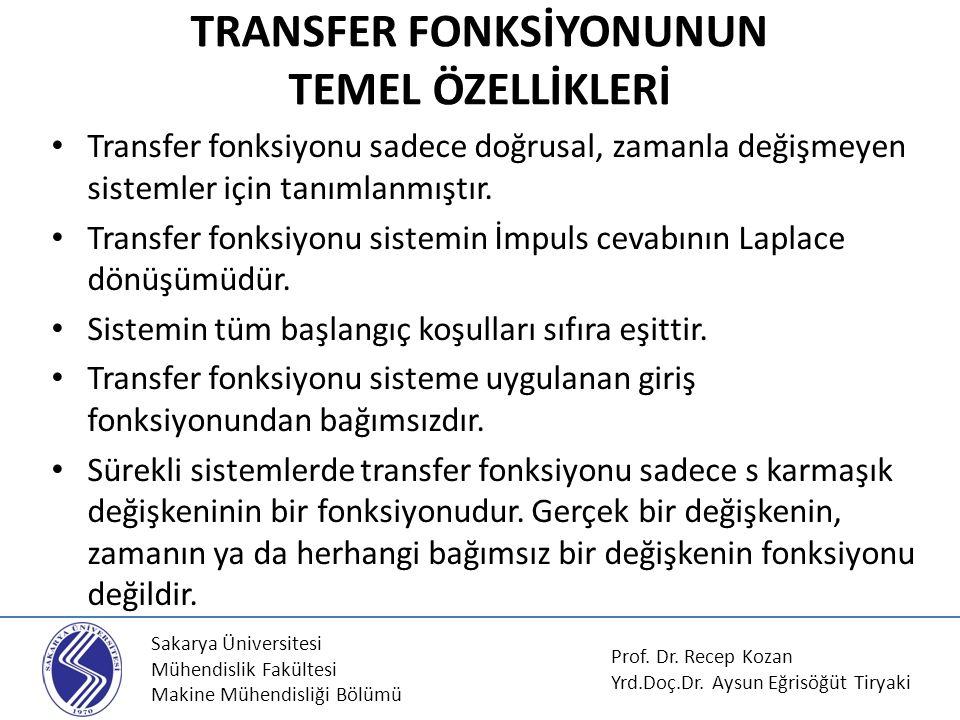 Sakarya Üniversitesi Mühendislik Fakültesi Makine Mühendisliği Bölümü Transfer fonksiyonu sadece doğrusal, zamanla değişmeyen sistemler için tanımlanm