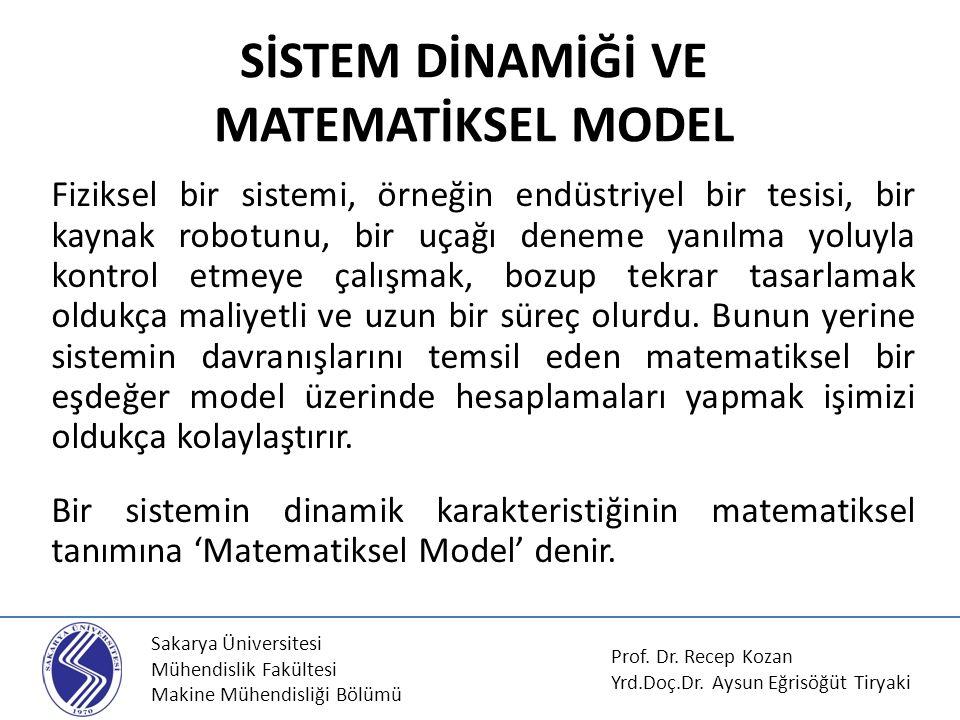 Sakarya Üniversitesi Mühendislik Fakültesi Makine Mühendisliği Bölümü SİSTEM DİNAMİĞİ VE MATEMATİKSEL MODEL Fiziksel bir sistemi, örneğin endüstriyel