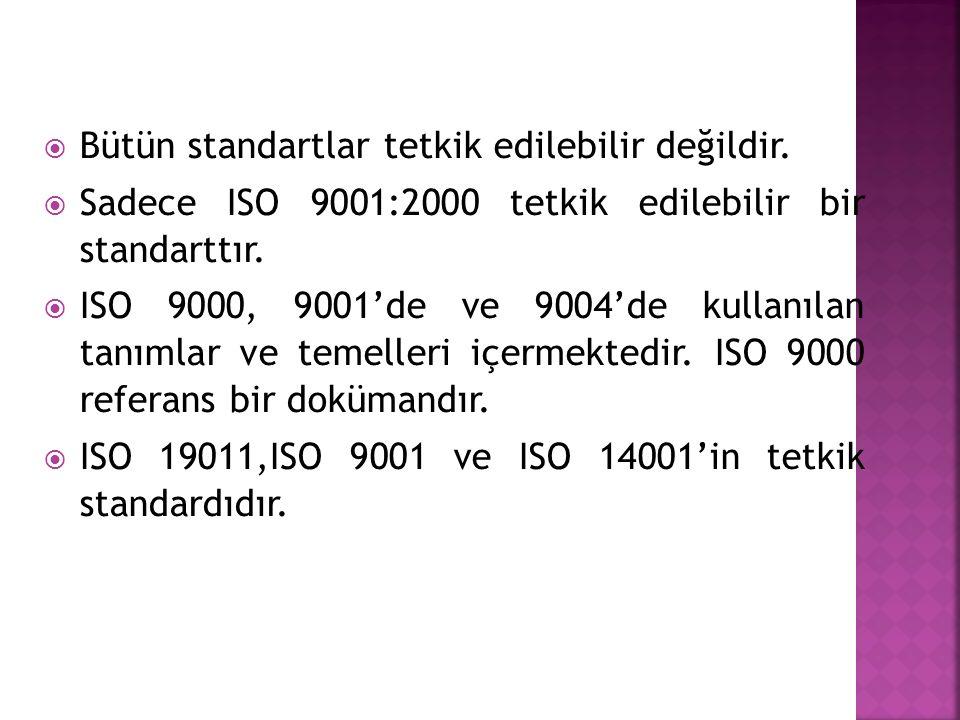  Bütün standartlar tetkik edilebilir değildir.  Sadece ISO 9001:2000 tetkik edilebilir bir standarttır.  ISO 9000, 9001'de ve 9004'de kullanılan ta