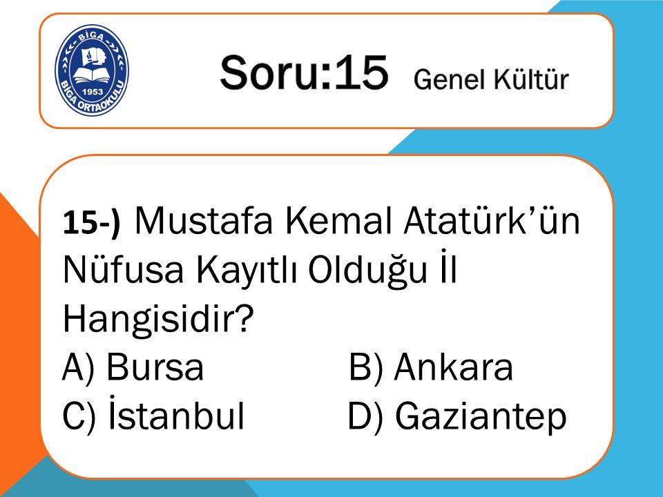 15-) Mustafa Kemal Atatürk'ün Nüfusa Kayıtlı Olduğu İl Hangisidir.