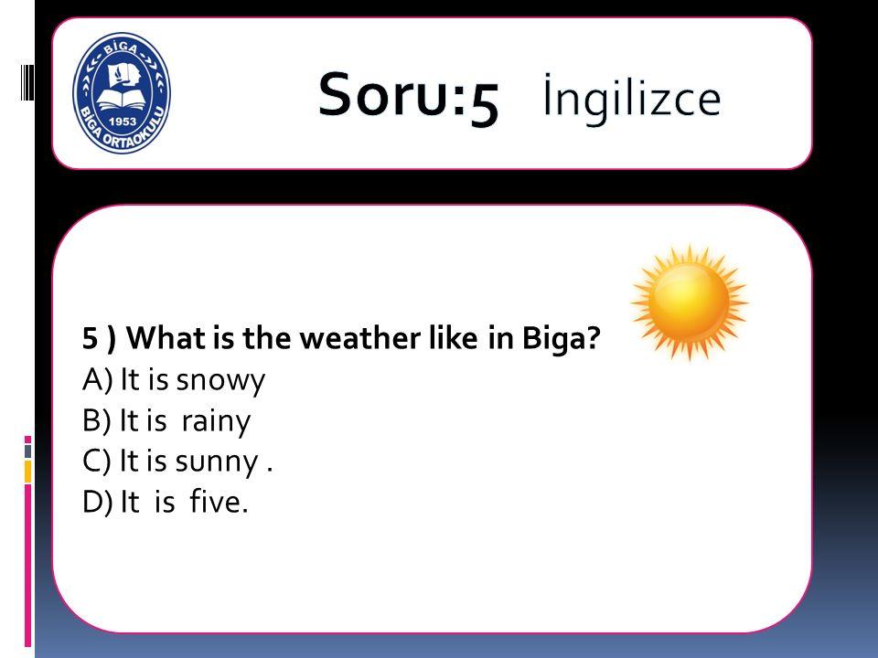 5 ) What is the weather like in Biga A) It is snowy B) It is rainy C) It is sunny. D) It is five.