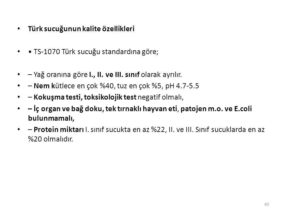 Türk sucuğunun kalite özellikleri TS-1070 Türk sucuğu standardına göre; – Yağ oranına göre I., II. ve III. sınıf olarak ayrılır. – Nem kütlece en çok