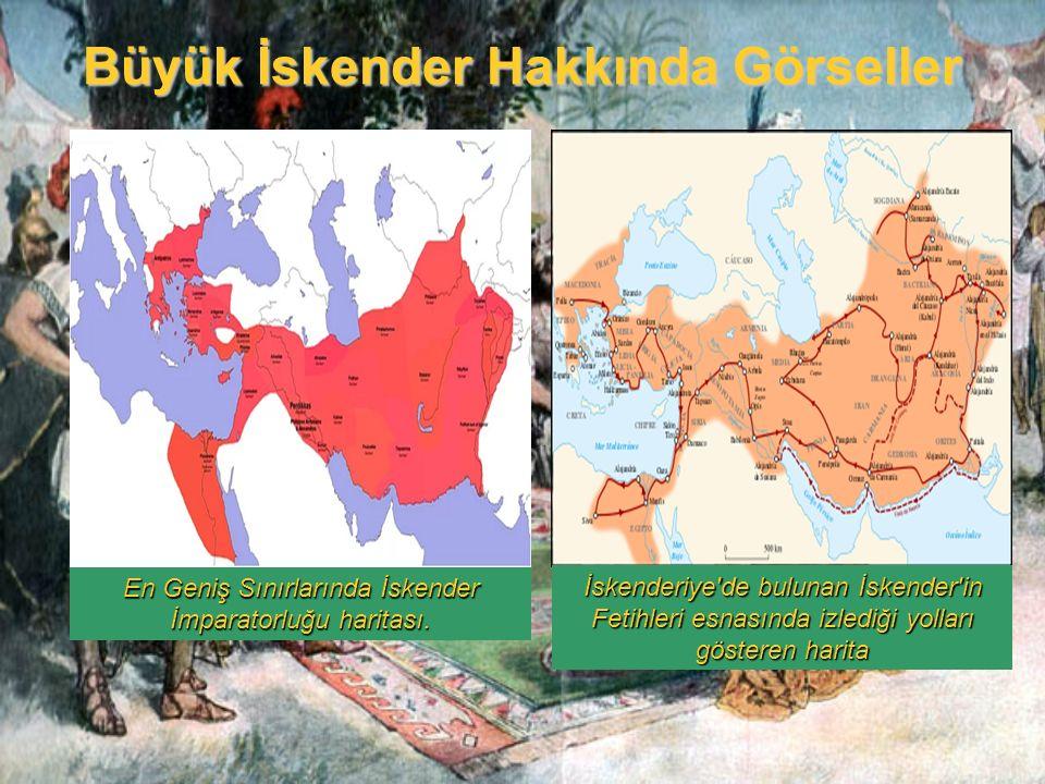 Büyük İskender Hakkında Görseller En Geniş Sınırlarında İskender İmparatorluğu haritası. İskenderiye'de bulunan İskender'in Fetihleri esnasında izledi