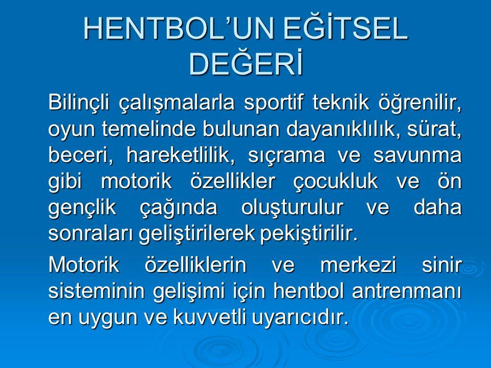 HENTBOL'UN YURDUMUZDAKİ GELİŞİMİ Bayan yıldız ve Gençlerde Avrupa Finallerine katılan Milli Takımlarımız, Yıldız ve Genç Bayanlarda Balkan Şampiyonluğu Ve Avrupa 4.'lüğü Büyük Erkeklerdeki Balkan Şampiyonlukları ve 1997 yılında Genç Erkek ve Bayan Dünya Şampiyonası finallerine katılmamız Türk hentbolunun Avrupa ve Dünya'da oldukça iyi bir yere sahip olduğunun kanıtıdır.