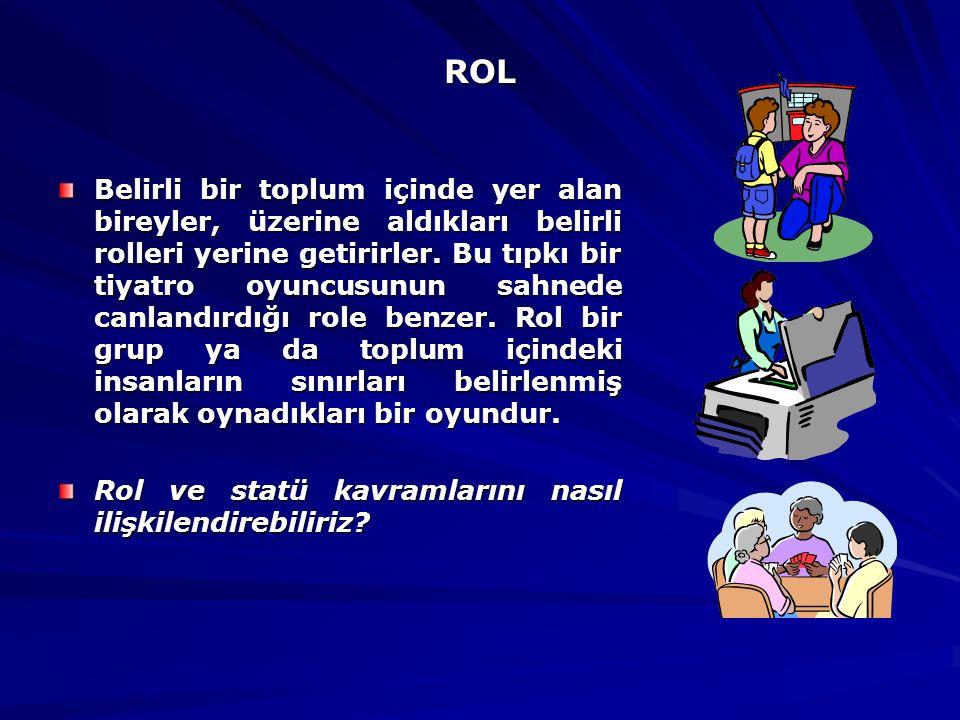 ROL ROL Belirli bir toplum içinde yer alan bireyler, üzerine aldıkları belirli rolleri yerine getirirler. Bu tıpkı bir tiyatro oyuncusunun sahnede can