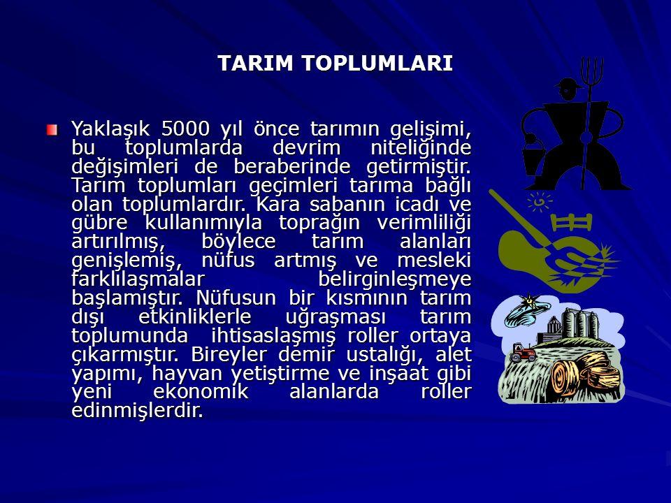 TARIM TOPLUMLARI Yaklaşık 5000 yıl önce tarımın gelişimi, bu toplumlarda devrim niteliğinde değişimleri de beraberinde getirmiştir. Tarım toplumları g