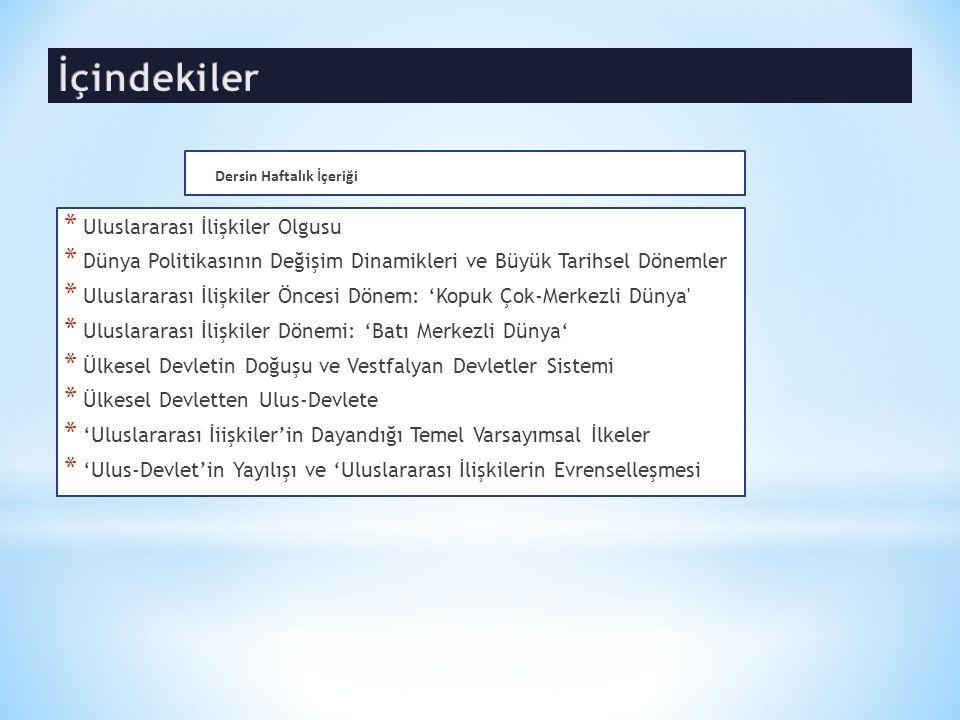 Ülkesel Devletin Doğuşu ve Vestfalyan Devletler Sistemi  Modem dünyanın temelleri 17.