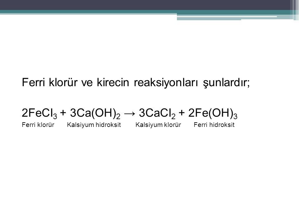 Ferri klorür ve kirecin reaksiyonları şunlardır; 2FeCI 3 + 3Ca(OH) 2 → 3CaCI 2 + 2Fe(OH) 3 Ferri klorür Kalsiyum hidroksit Kalsiyum klorür Ferri hidro