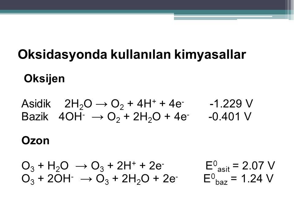 Oksidasyonda kullanılan kimyasallar Oksijen Asidik 2H 2 O → O 2 + 4H + + 4e - -1.229 V Bazik 4OH - → O 2 + 2H 2 O + 4e - -0.401 V Ozon O 3 + H 2 O → O