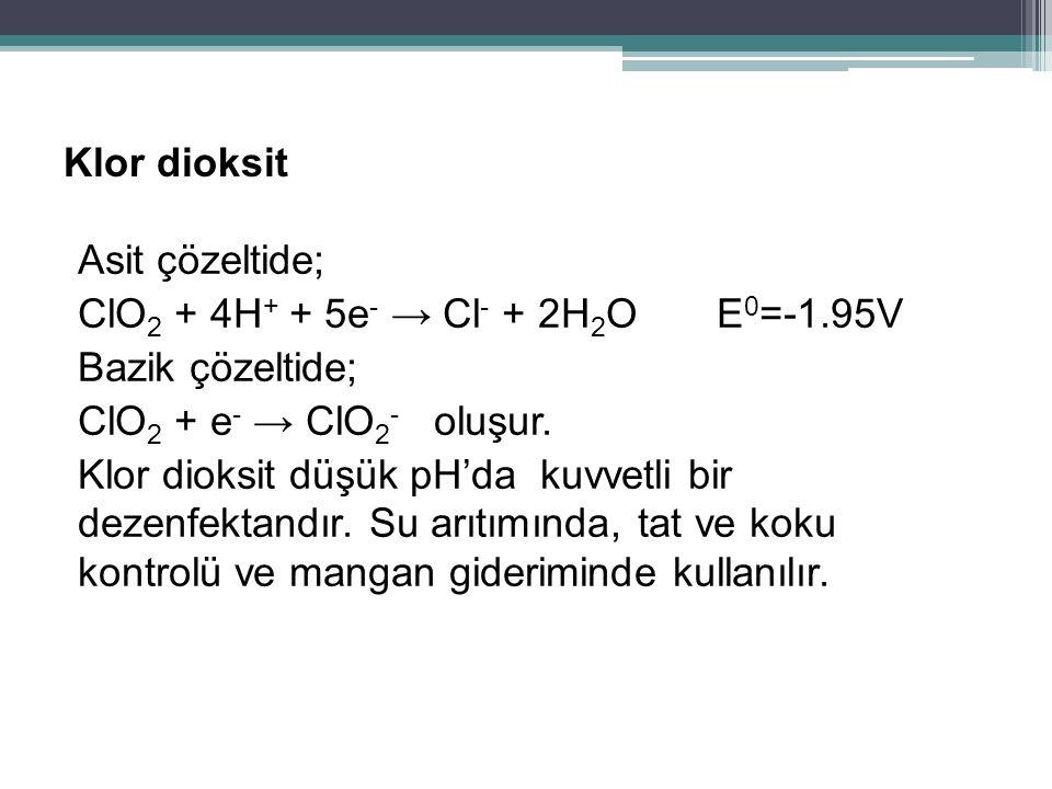 Klor dioksit Asit çözeltide; ClO 2 + 4H + + 5e - → Cl - + 2H 2 O E 0 =-1.95V Bazik çözeltide; ClO 2 + e - → ClO 2 - oluşur. Klor dioksit düşük pH'da k