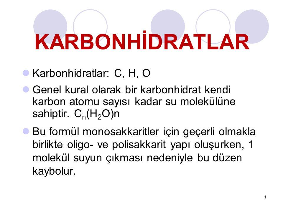 KARBONHİDRATLAR Karbonhidratlar: C, H, O Genel kural olarak bir karbonhidrat kendi karbon atomu sayısı kadar su molekülüne sahiptir.