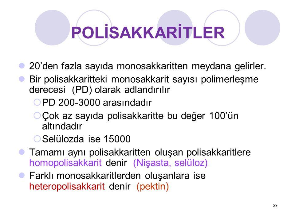 20'den fazla sayıda monosakkaritten meydana gelirler. Bir polisakkaritteki monosakkarit sayısı polimerleşme derecesi (PD) olarak adlandırılır  PD 200