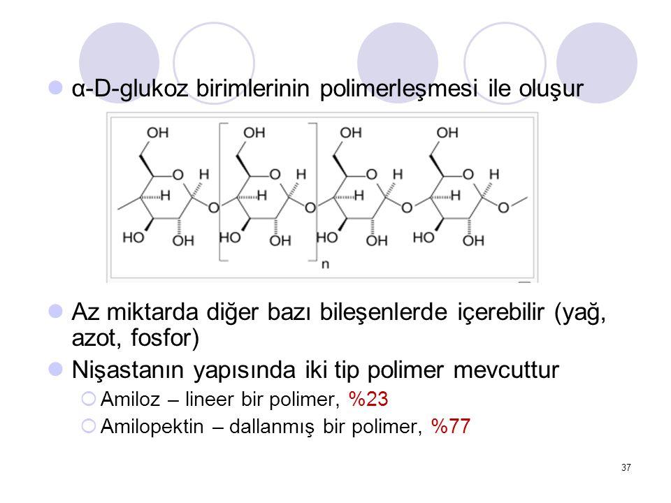 α-D-glukoz birimlerinin polimerleşmesi ile oluşur Az miktarda diğer bazı bileşenlerde içerebilir (yağ, azot, fosfor) Nişastanın yapısında iki tip polimer mevcuttur  Amiloz – lineer bir polimer, %23  Amilopektin – dallanmış bir polimer, %77 37