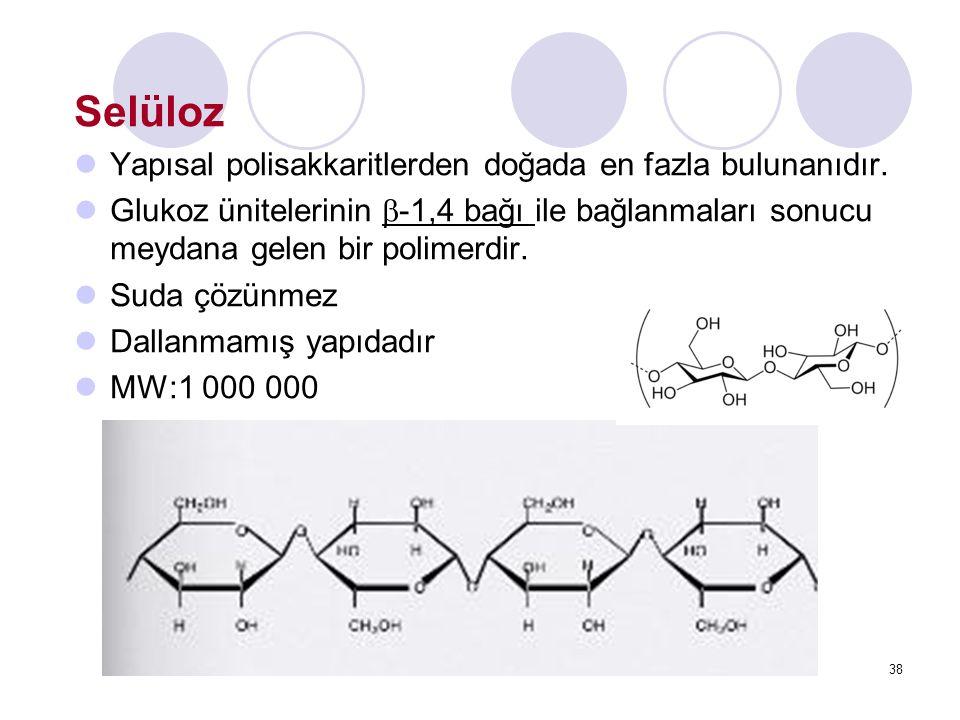 Selüloz Yapısal polisakkaritlerden doğada en fazla bulunanıdır. Glukoz ünitelerinin  -1,4 bağı ile bağlanmaları sonucu meydana gelen bir polimerdir.