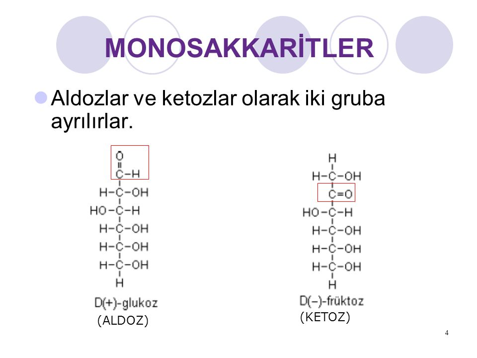 MONOSAKKARİTLER Aldozlar ve ketozlar olarak iki gruba ayrılırlar. (ALDOZ) (KETOZ) 4
