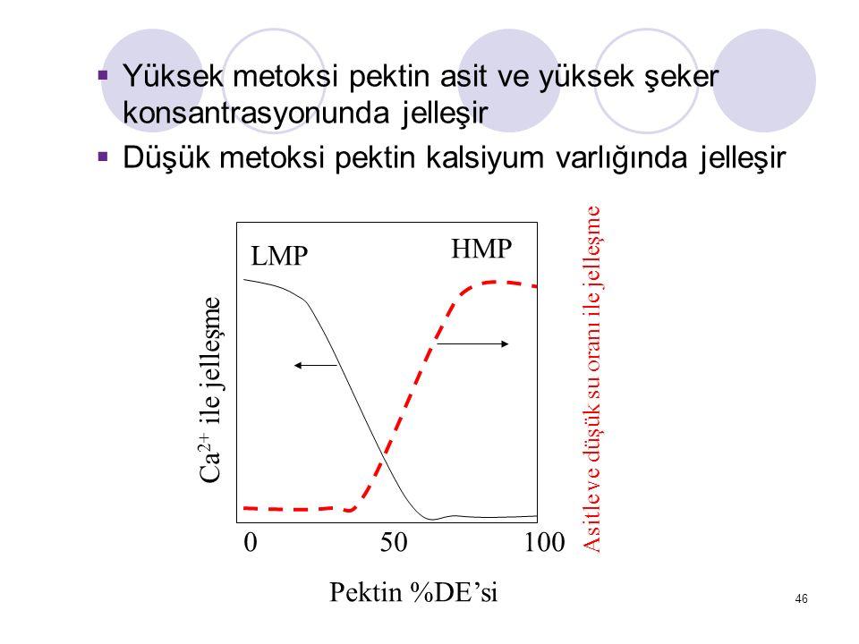 050100 Pektin %DE'si Ca 2+ ile jelleşme Asitle ve düşük su oranı ile jelleşme HMP LMP  Yüksek metoksi pektin asit ve yüksek şeker konsantrasyonunda jelleşir  Düşük metoksi pektin kalsiyum varlığında jelleşir 46