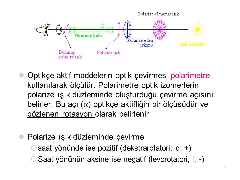 Optikçe aktif maddelerin optik çevirmesi polarimetre kullanılarak ölçülür. Polarimetre optik izomerlerin polarize ışık düzleminde oluşturduğu çevirme
