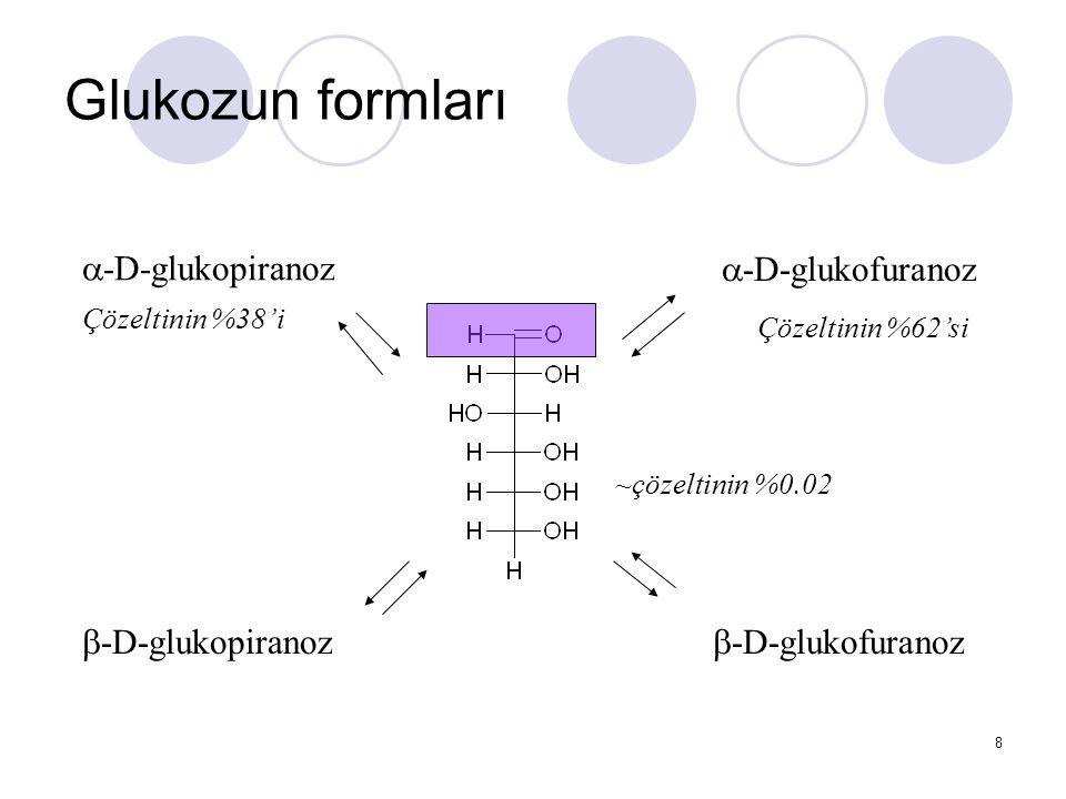 Önemli monosakkaritler Pentozlar (5C)  Serbest halde fazla bulunmazlar, kompleks polisakkaritlerin yapısında bulunurlar  Mayalar tarafından fermente edilemez  Memeliler tarafından kullanımı kısıtlıdır D-Ksiloz: pentozan olarak mısır koçanında, kepekte, samanda, bitkisel gamlarda, serbest olarak kiraz, şeftali, armut ve erik gibi meyvelerde bulunur L-Arabinoz: gamların, pektik maddelerin ve hemiselülozların yapı taşlarını oluşturur.
