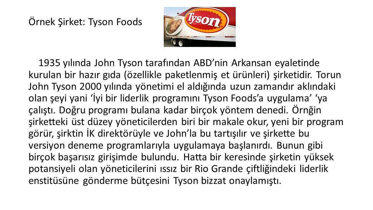 Örnek Şirket: Tyson Foods 1935 yılında John Tyson tarafından ABD'nin Arkansan eyaletinde kurulan bir hazır gıda (özellikle paketlenmiş et ürünleri) şirketidir.