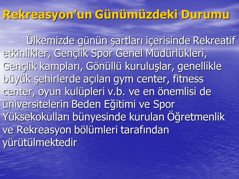 Türkiye' de Rekreasyonun Tarihçesi Ülkemizde de Rekreatif düşünce ilk olarak Atatürk' ün 1923 ve 1937 senelerinde yapmış olduğu konuşmalarda kullanılm