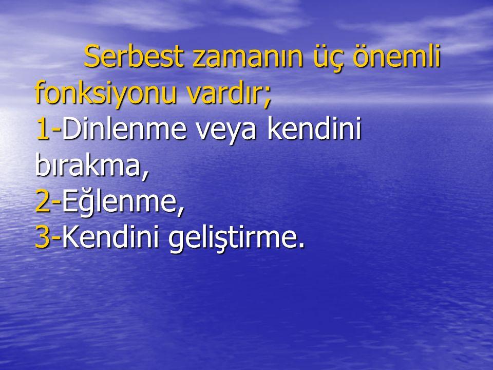 TÜRKİYE'DE REKREASYONA BAKIŞ, GELİŞİMİ VE BEKLENTİLER Prof.