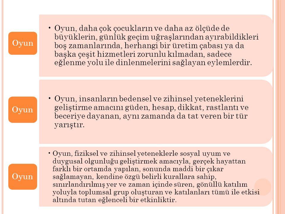 OYUNUN YAPISAL TEMELLERİ Lieberman; Oyunun fiziksel, sosyal, kavramsal istek ve keyif gibi 5 temel özellikten oluştuğunu öne sürer: 1.