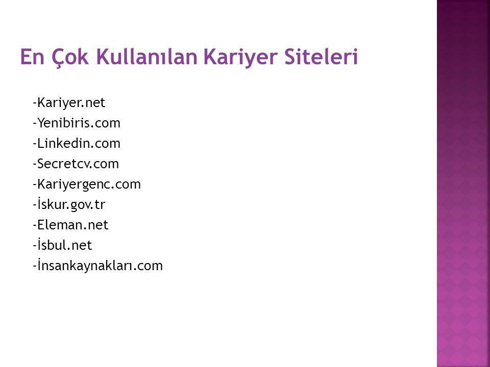 En Çok Kullanılan Kariyer Siteleri -Kariyer.net -Yenibiris.com -Linkedin.com -Secretcv.com -Kariyergenc.com -İskur.gov.tr -Eleman.net -İsbul.net -İnsa