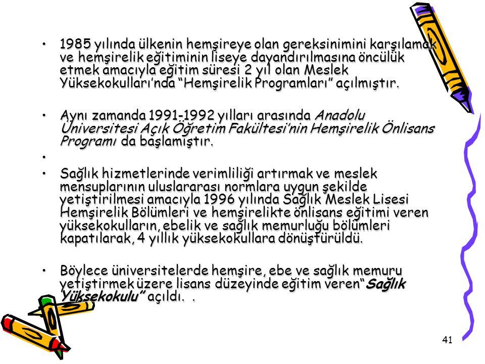 41 1985 yılında ülkenin hemşireye olan gereksinimini karşılamak ve hemşirelik eğitiminin liseye dayandırılmasına öncülük etmek amacıyla eğitim süresi