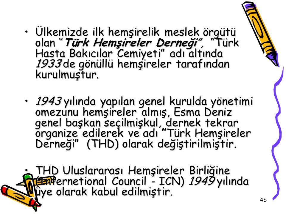 """45 Ülkemizde ilk hemşirelik meslek örgütü olan ''Türk Hemşireler Derneği"""", """"Türk Hasta Bakıcılar Cemiyeti"""" adı altında 1933'de gönüllü hemşireler tara"""