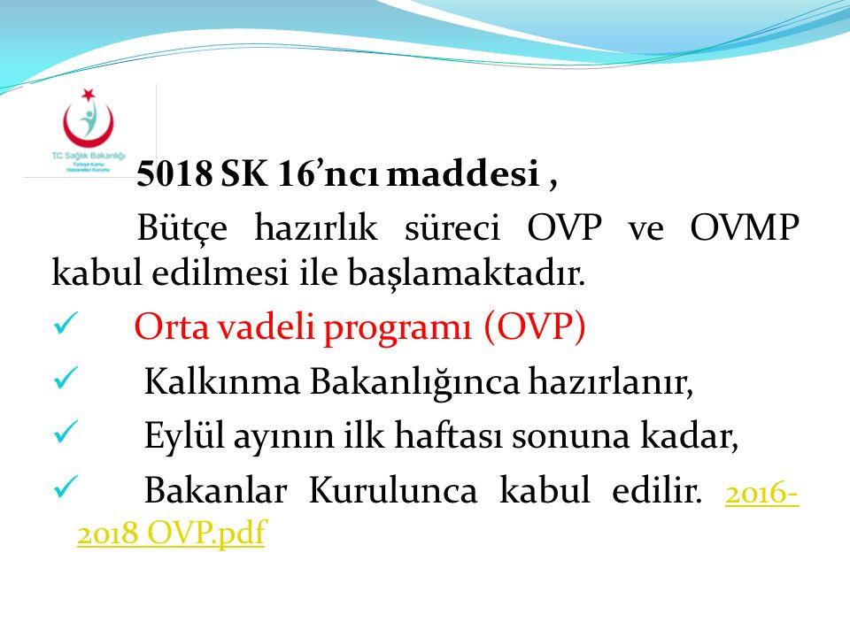 5018 SK 16 'ncı maddesi, Bütçe hazırlık süreci OVP ve OVMP kabul edilmesi ile başlamaktadır. Orta vadeli programı (OVP) Kalkınma Bakanlığınca hazırlan