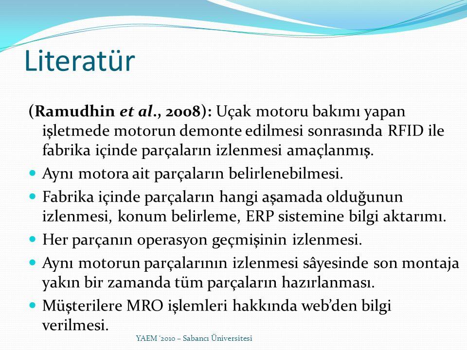 (Ramudhin et al., 2008): Uçak motoru bakımı yapan işletmede motorun demonte edilmesi sonrasında RFID ile fabrika içinde parçaların izlenmesi amaçlanmı