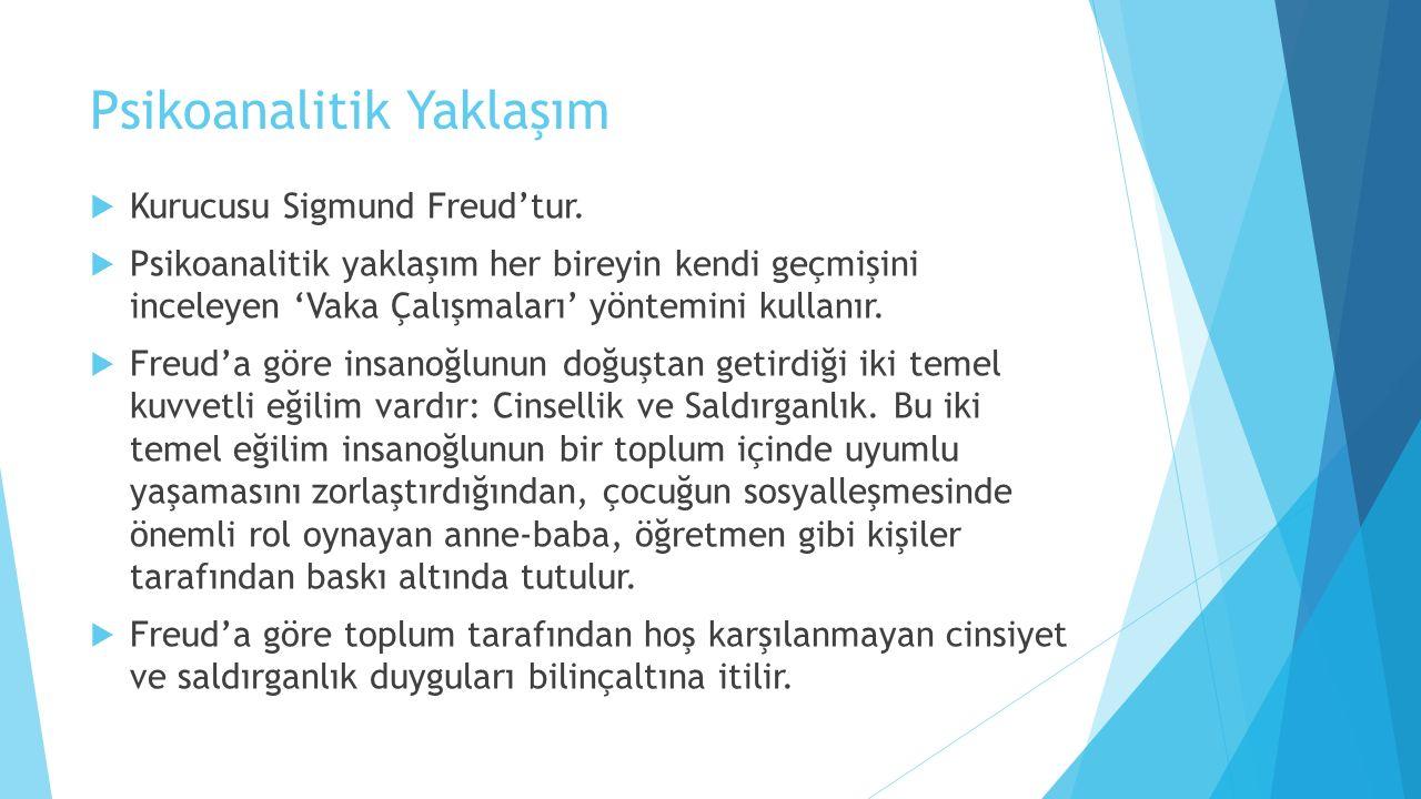 Psikoanalitik Yaklaşım  Kurucusu Sigmund Freud'tur.