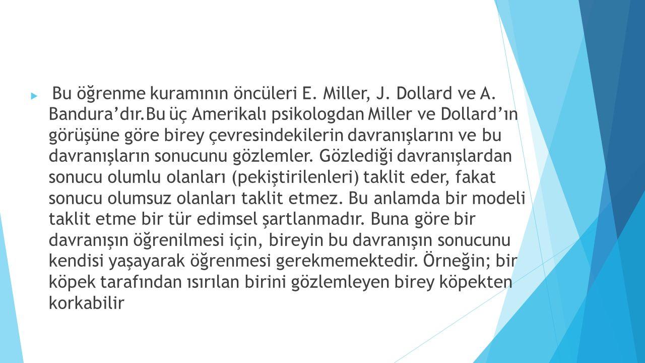  Bu öğrenme kuramının öncüleri E. Miller, J. Dollard ve A. Bandura'dır.Bu üç Amerikalı psikologdan Miller ve Dollard'ın görüşüne göre birey çevresind