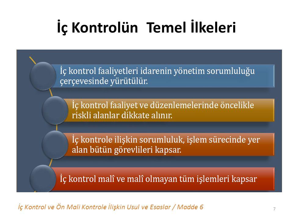 İç Kontrolün Temel İlkeleri İç Kontrol ve Ön Mali Kontrole İlişkin Usul ve Esaslar / Madde 6 7