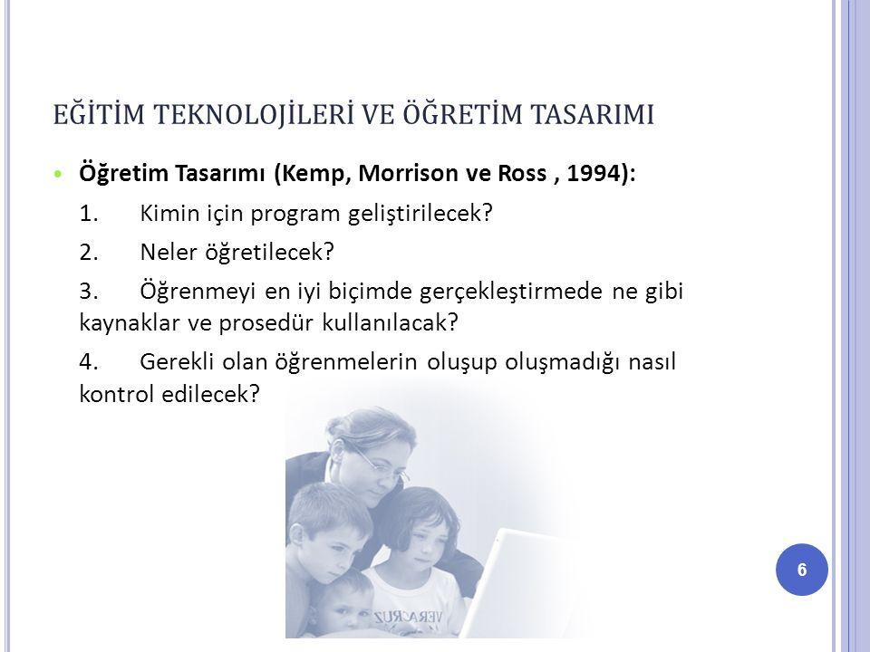 Öğretim Tasarımı (Kemp, Morrison ve Ross, 1994): 1.Kimin için program geliştirilecek.