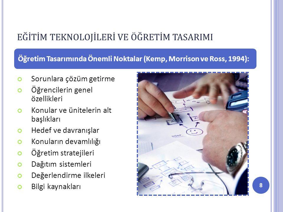 Sorunlara çözüm getirme Öğrencilerin genel özellikleri Konular ve ünitelerin alt başlıkları Hedef ve davranışlar Konuların devamlılığı Öğretim stratejileri Dağıtım sistemleri Değerlendirme ilkeleri Bilgi kaynakları Öğretim Tasarımında Önemli Noktalar (Kemp, Morrison ve Ross, 1994): EĞİTİM TEKNOLOJİLERİ VE ÖĞRETİM TASARIMI 8
