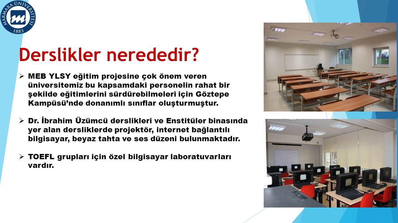 Derslikler nerededir?  MEB YLSY eğitim projesine çok önem veren üniversitemiz bu kapsamdaki personelin rahat bir şekilde eğitimlerini sürdürebilmeler